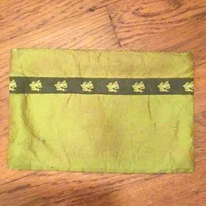 Green silk custom clutch